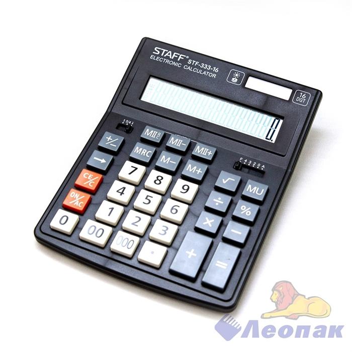 Калькулятор STAFF PLUS настольный STF-333, 16 разрядов, двойное питание, 200x154 мм, 250417 - фото 10403
