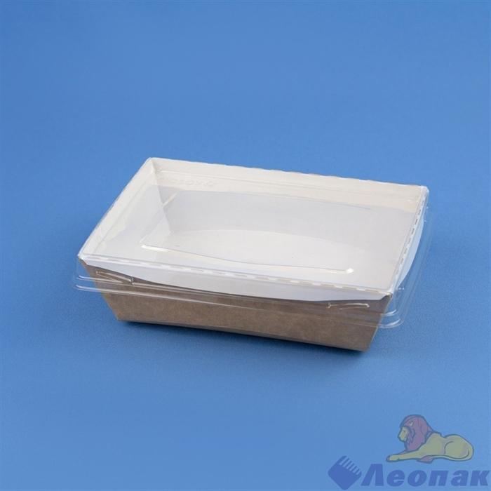 Контейнер бумажный с плоской пластиковой крышкой Crystal Box 500мл, 120х160х45, Крафт (200шт) 211934 - фото 14309