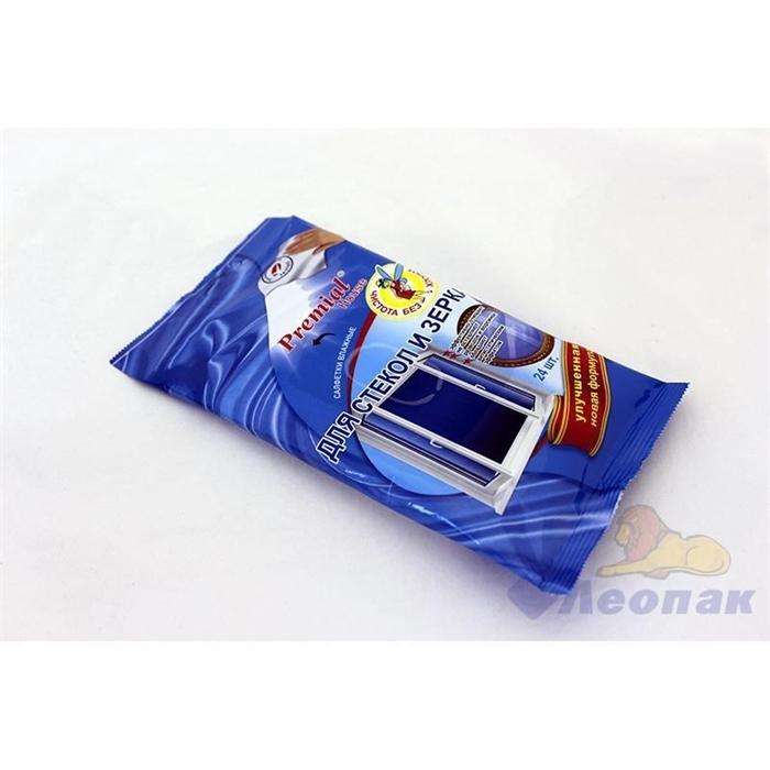 Салфетка влажная  Premial  для чистки стекол и зеркал (24шт/1уп/15уп) - фото 4491