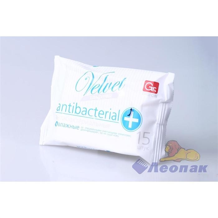 Салфетка влажная   GRIFON  Velvet антибактериальные (15шт/1уп) 350-011 - фото 4796