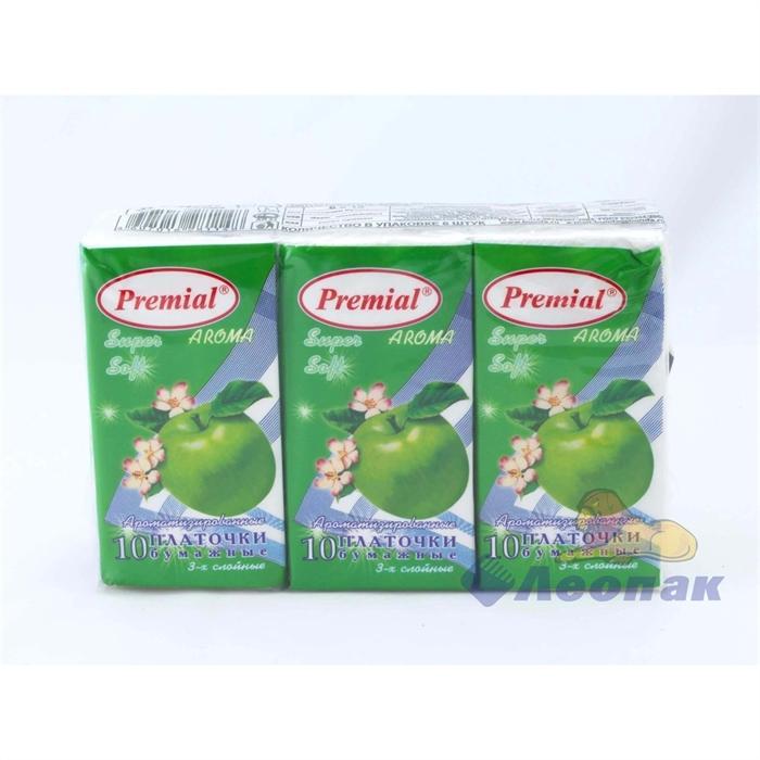 Платочки бумажные  PREMIAL  с ароматом зеленое яблоко (6шт/1уп/40уп) - фото 4852