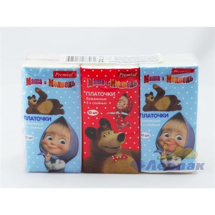Платочки бумажные  PREMIAL   Маша и Медведь  3-хсл. неароматизиров. (6шт/1уп/40уп) - фото 4857
