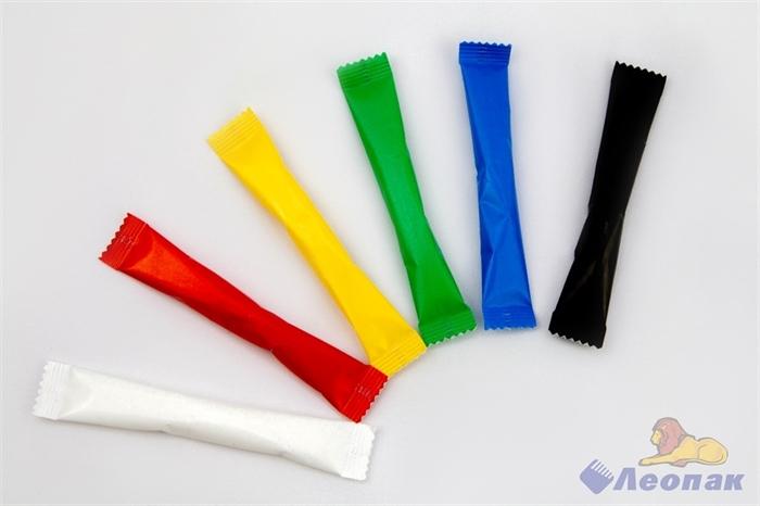 Сахар белый 5гр.  РАДУГА-1  6 цветов*250шт. (1500 шт.) Белый, черный, красный, синий, зеленый, желт. - фото 9676