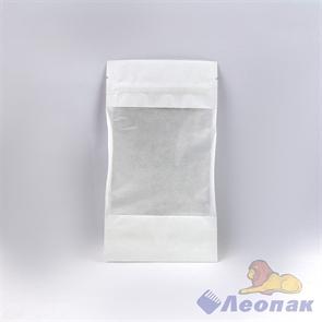Пакет бумажный БЕЛЫЙ 105х185+(30+30)  Дой-пак  с ЗИП замком и окошком (50шт/уп)