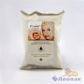 Салфетка влажная  Premial  для интимной гигиены с молочной кислотой (20шт/1уп/24уп)