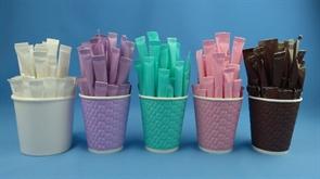 Сахар белый 5гр.  РАДУГА-2  5 цветов*300шт. (1500 шт.) Белый, коричневый, розовый, сиреневый, бирюз.