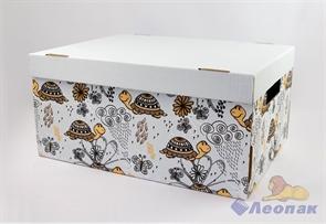 Коробка для хранения крышка+дно  Черепашки  280х370х180, Т23Е
