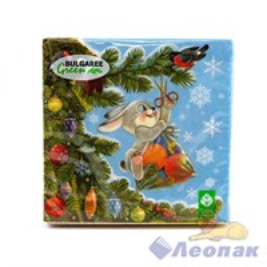 Салфетка  Зима в подарках  (20шт/15уп) 33х33см  3х-слойная / Булгари