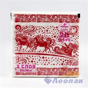 Салфетка Лилия  Новогодняя упряжка  красный (20шт/15уп) 33х33см  2х-слойная
