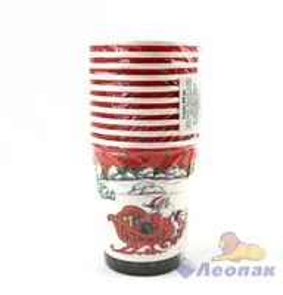 Стакан бумажный 250мл  Дед Мороз на санях  (10шт/48уп) /Булгари