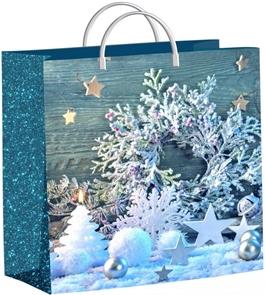 Пакет мягкий пластик 30х30-140мкм  Снежинки на бирюзе  (40) /ТИКО