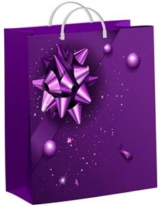 Пакет мягкий пластик 40х30-140мкм  Фиолетовый подарок  (40) /ТИКО
