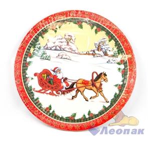 Тарелка бумажная d-230,  Дед Мороз на санях  (10шт/48уп) /Булгари