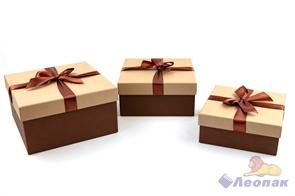Набор подарочных коробок 3в1 (210х210х110,190х190х90,170х170х70) с бантом капучино/шоколадный