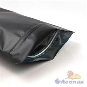 Пакет метализированный 170х300+(45+45)  Дой-пак  с ЗИП замком черный матовый (50шт/1000шт)