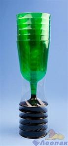 Бокал для вина 200мл зеленый (низкая черная ножка)(6шт=1уп/54уп) арт.1011