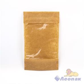 Пакет бумажный 135х225+(35+35)  Дой-пак  с ЗИП замком и окошком70 (50шт/уп)