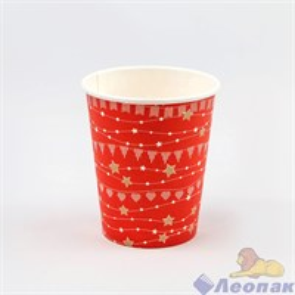 Стакан бумажный 250мл Праздничный красный (50/1000)