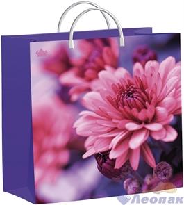 Пакет мягкий пластик с пластик.ручками 30х30   Хризантемы на сиреневом  (40) ТИКО