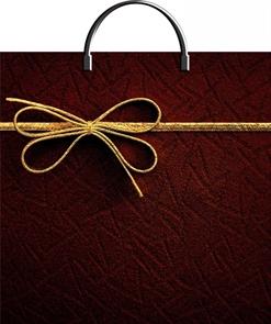 Пакет с пластик.ручками 36х37  Золотой бантик  ламиниров.(10/100) ТИКО
