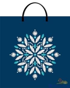 Пакет с пластик.ручками 36х37-100мкм  Снежинка в аквамарине  (100)/ТИКО