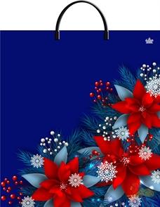 Пакет с пластик.ручками 40х44-100мкм   Рождественский цветок  (100)/ТИКО
