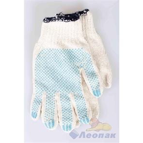 Перчатки х/б с напылением белые (10пар/25уп) 4 нитки  БЕРЕЗКА
