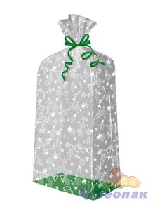 Пакет подарочный Праздник 500х220(140)х30 -(еврослот) жесткое дно, ВОРР (120шт) Тико