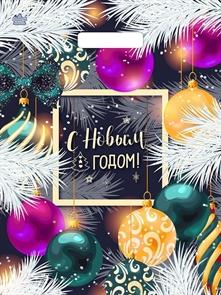 П-выр.ручка 31х40-60мкм  Новогодние шарики  ламинированный  (500) ТИКО