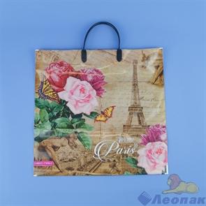 Пакет с пластик.ручками 37х35-90  Париж с розой  (5шт/100) Нео-пак