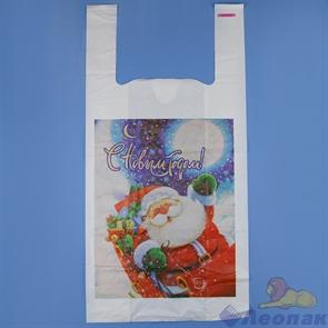 П-майка 28х56-40мкм  Дед Мороз  белый ПВД (100/1000) СП
