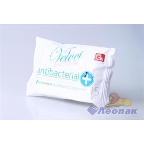 Салфетка влажная   GRIFON  Velvet антибактериальные (15шт/1уп) 350-011
