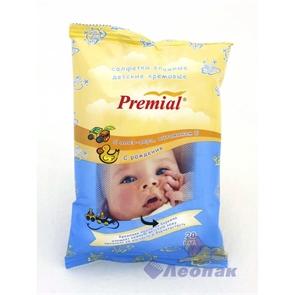 Салфетка влажная  Premial  для детской гигиены очищающие кремовые (20шт/1уп/24уп)