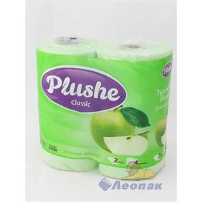Бумага туалетная  PLUSHE Classic  Зеленое Яблоко 2-х сл.(4шт/12уп)
