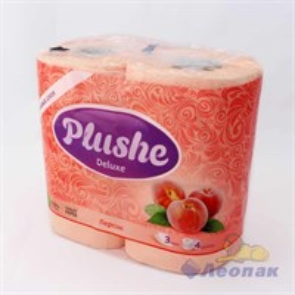 Бумага туалетная  PLUSHE Deluxe  Персик 3-х сл. (4шт/10уп)