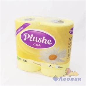 Бумага туалетная  PLUSHE Classic  Ромашка 2-х сл.(4шт/12уп)
