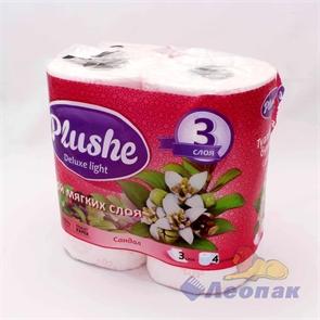 Бумага туалетная  PLUSHE Deluxe Light  Сакура 3-х сл. (4шт/12уп)