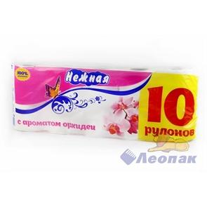 Бумага туалетная  НЕЖНАЯ  АРОМА Орхидея 2-х сл. (10шт/1уп/4у)