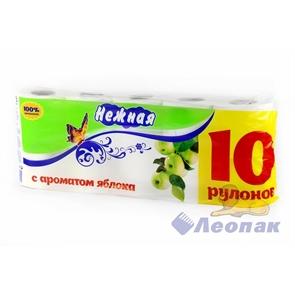 Бумага туалетная  НЕЖНАЯ  АРОМА Яблоко 2-х сл. (10шт/1уп/4у)