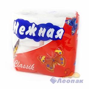 Бумага туалетная  НЕЖНАЯ  Classik белая 2-х сл. (4шт/1уп/12уп)