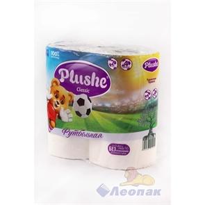 Бумага туалетная  PLUSHE Classic  Футбольная белая 2-х сл.(4шт/12уп)