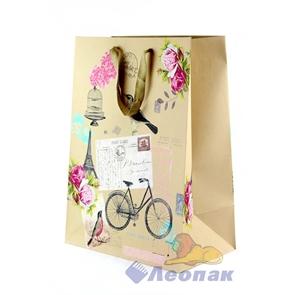 L445 Пакет бумажный Крафт 31*44*19  Цветы  (20шт/11уп)