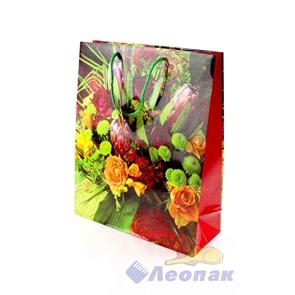 F1030 Пакет ламинир. 26*32*10  Цветы  (20шт/18уп)  10диз