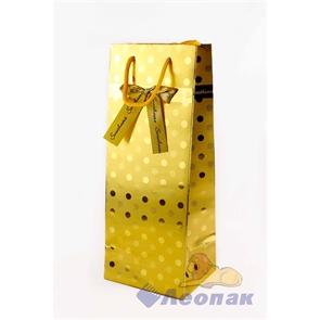 Пакет бумажный Люкс Горох 14*37*14 (12шт/20уп) 6микс L303 под бутылку