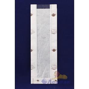 Пакет бумажный 330*110*40  (100шт/уп) с печатью, с окошком (50мм)