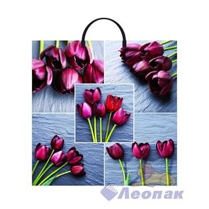 Пакет с пластик.ручками 36х37  Коллаж-Тюльпаны  (10/100) ТИКО