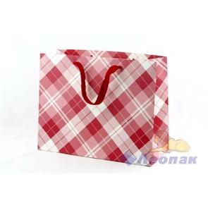 L011 Пакет бумажный  Клетка  32*26*14 (12шт/30уп)
