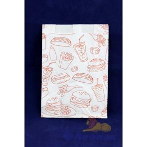Пакет бумажный 210*140*60 жиростойкий (100/2000шт) печать ФФ  /Альянс