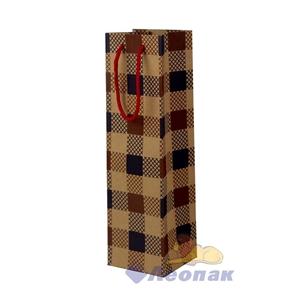 L74  Пакет бумажный КРАФТ 10*36*11 Клетка  (12шт/40)