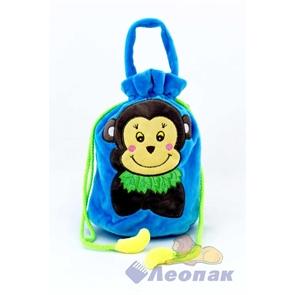 С116-2 Мешок ворсовый синий  Мартышка с бананами  (250) 015SJC116-2